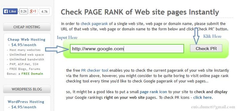Mengetahui Nilai Page Rank pada Suatu Blog
