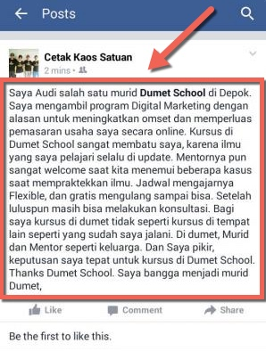 testimonial dari mba audi murid digital marketing dumet school depok