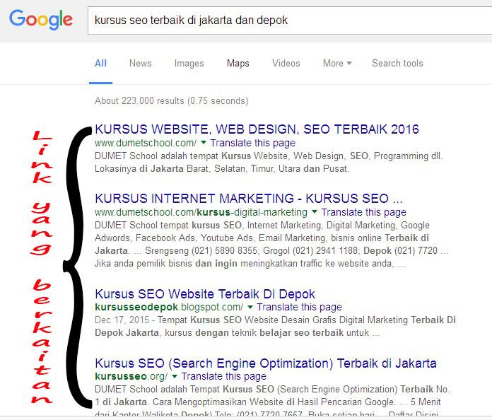 """Kata Kunci """"Kursus SEO Terbaik di Jakarta dan Depok"""""""